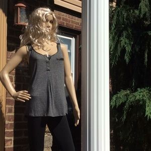 """Express """"FAUX LEATHER"""" trimmed tank top.. sz M"""